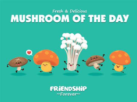 Vintage food poster design with vector mushroom character set.