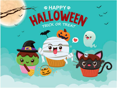 Vintage Halloween poster design with vector witch, mummy, ghost, cat cupcake character.