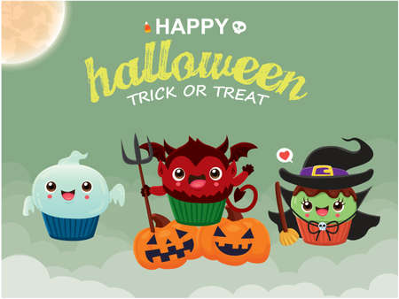 Vintage Halloween poster design with vector witch, demon, ghost, cat cupcake character.