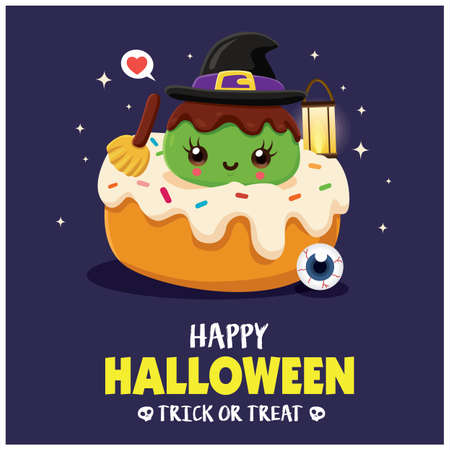 Vintage Halloween poster design with vector witch, cupcake character. 向量圖像