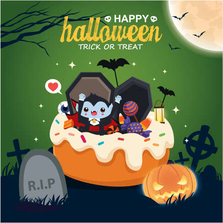 Vintage Halloween poster design with vector vampire, ghost character. Vettoriali