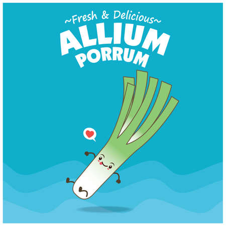 Vintage food poster design with Allium Porrum character 矢量图像