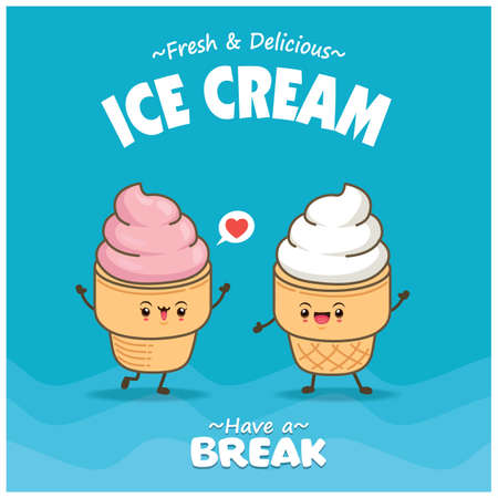 Vintage food poster design with vector ice cream character. 矢量图像