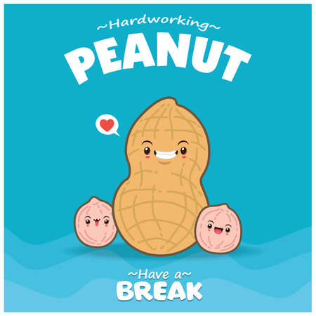 Vintage food poster design with vector peanut character.