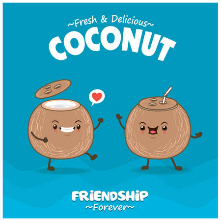 Vintage food poster design with coconut character. 矢量图像