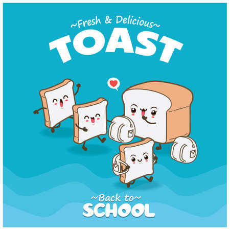 Vintage food poster design with toast character.