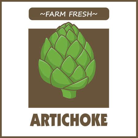 Vintage food poster design with Artichoke. 矢量图像