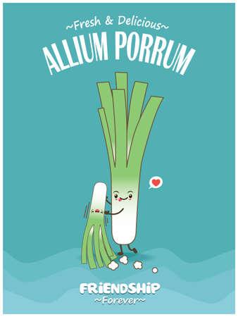Vintage food poster design with Allium Porrum character. 矢量图像