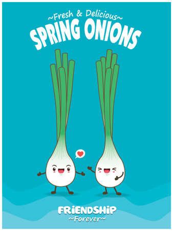 Vintage food poster design with Spring onions character. 矢量图像