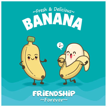 Vintage food poster design with banana character.