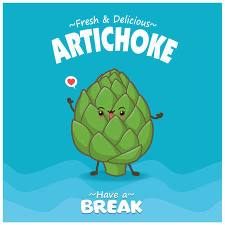 Vintage food poster design with Artichoke character.