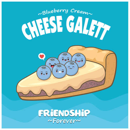 Vintage food poster design with blueberry cream cheese gallet character.