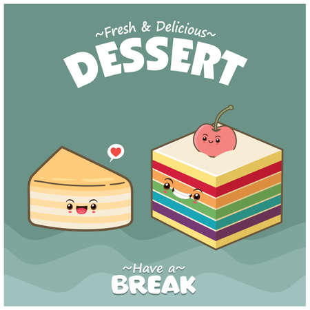 Vintage food poster design with cake character.