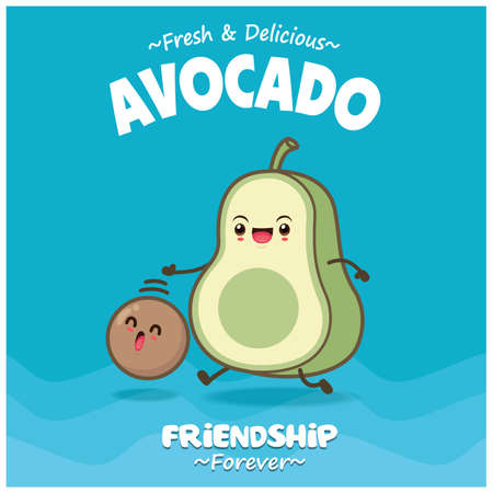 Vintage food poster design with avocado character. 矢量图像