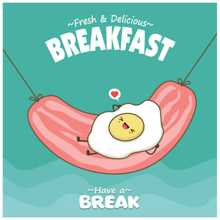 Vintage food poster design with egg & ham character. 矢量图像