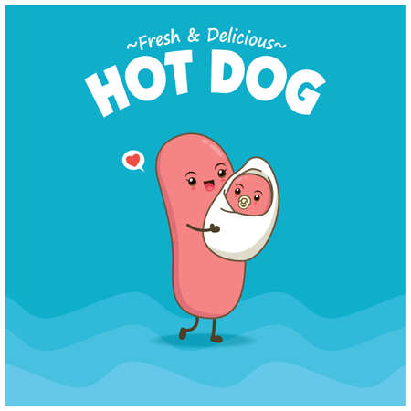 Vintage food poster design with hot dog character. 向量圖像