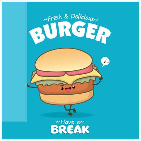 Vintage food poster design with vector burger character. Illusztráció