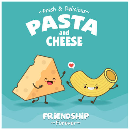 Vintage food poster design with vector cheese, pasta character.