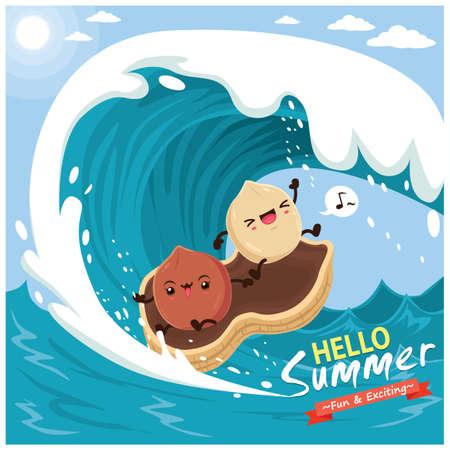 Vintage summer poster design with vector nuts & surfboard characters. Illusztráció