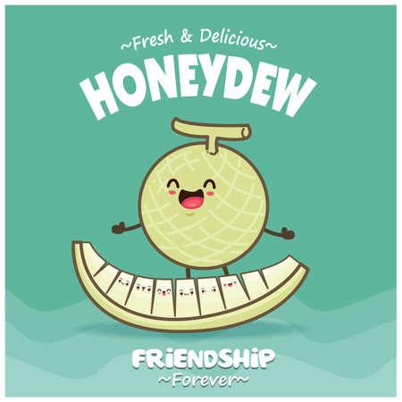 Vintage food poster design with honeydew character. Illusztráció