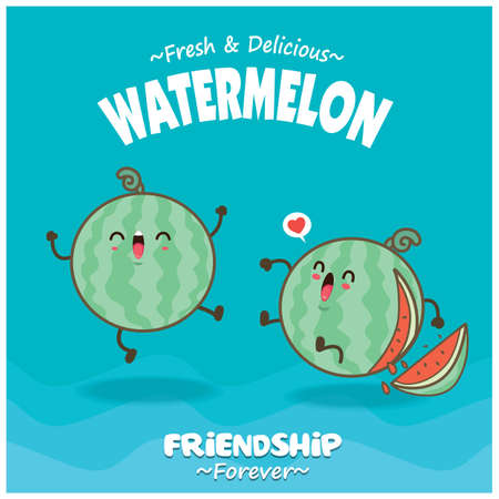 Vintage food poster design with watermelon character.