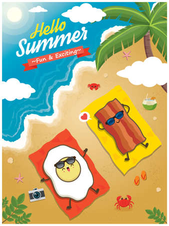 Vintage summer poster design with vector bacon and egg character.