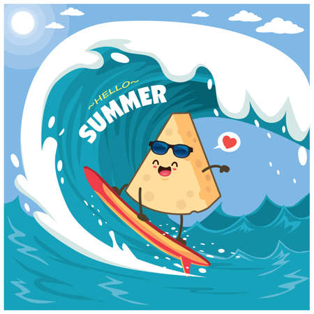 Vintage summer poster design with vector cheese and surfboard characters.