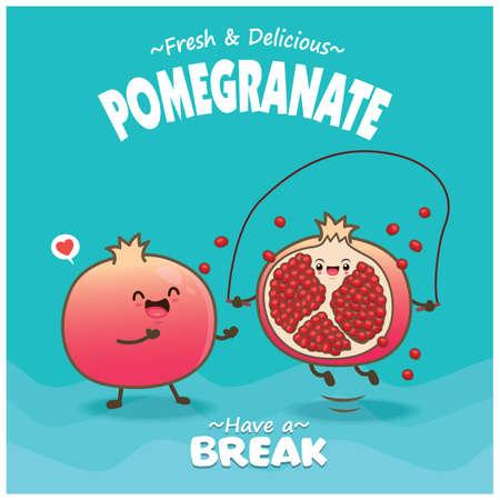 Vintage food poster design with pomegranate character. Illusztráció