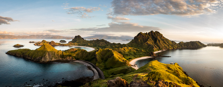 Landscape view from the top of Padar island in Komodo islands, Flores, Indonesia. Stock Photo
