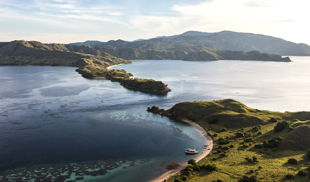 View from the top of Gili Lawa island in Komodo islands, Flores, Indonesia. Stock Photo