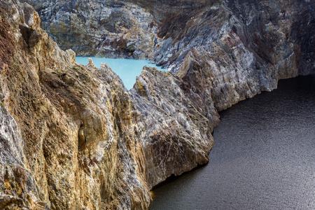 Close-up shot of Kelimutu crater lakes in Kelimutu national park, Moni, Flores island, Indonesia.