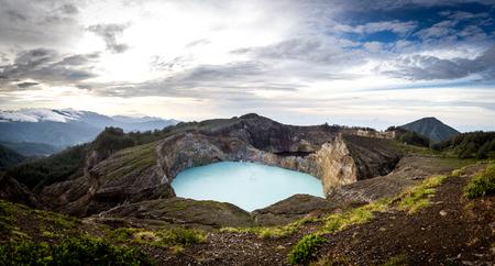 Panoramic view of Kelimutu crater lakes in Kelimutu national park, Moni, Flores island, Indonesia.