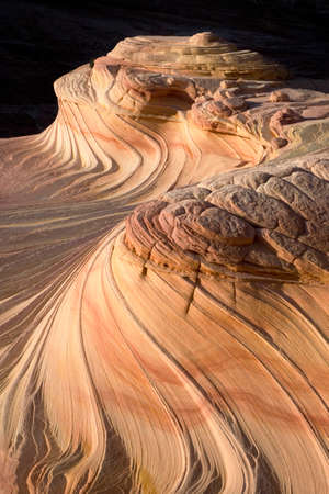 Upper  Second Wave sandstone rock formation located in Arizona, United of America near its northern border with Utah. The formation is situated on the slopes of the North Coyote Buttes in the Paria Canyon-Vermilion Cliffs Wilderness of the Colorado Plateau.