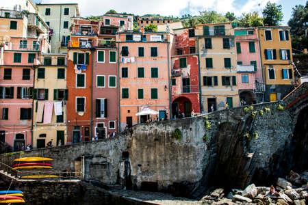 cinque: Italy colorful facades Cinque Terre.