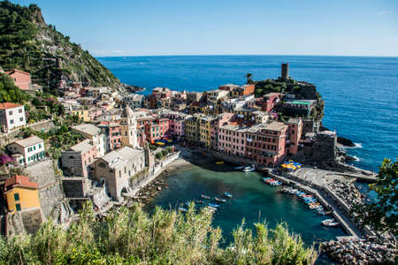 Italy Cinque Terre the five villages at the Italian Riviera Liguria Stock Photo