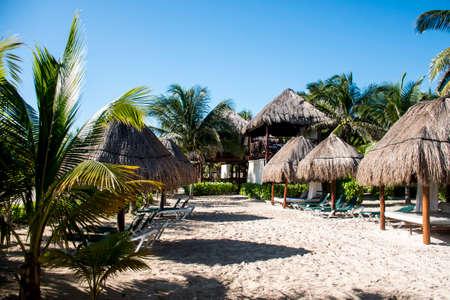 Beach with Palms at Playe del Carmen Mexico Yucatan Editorial