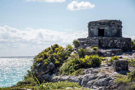 Mexico Yucatan Tulum maya ruins Temple Oceanside 2 Stock Photo