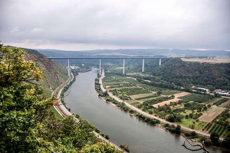 mosel: Famous German Wine Region Moselle River with bridge in Winningen 4 Stock Photo
