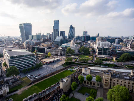 The City of London financial District skyline view aerial Stock Photo
