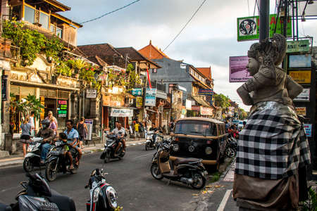 Bali Indonesia Ubud City Life of local people at sunset 08.09.2015