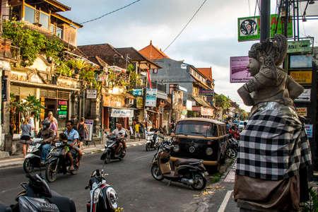 Bali Indonesia Ubud City Life of local people at sunset 08.09.2015
