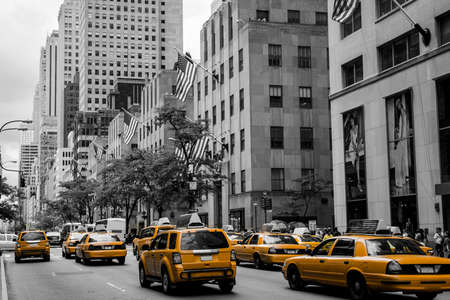 New York City Taxi Streets USA Skyline the Big Apple Black white yellow 2