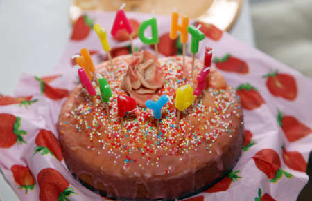 sweet Happy Birthday Cake with Candles letter burning