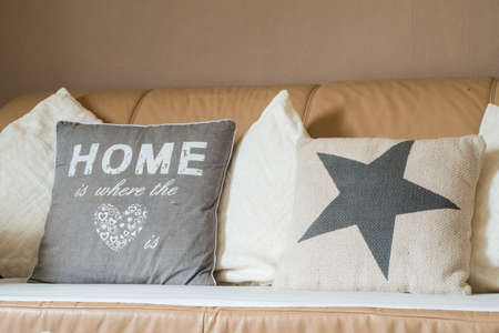 throw cushion: Home is where the heart pillow on sofa couch