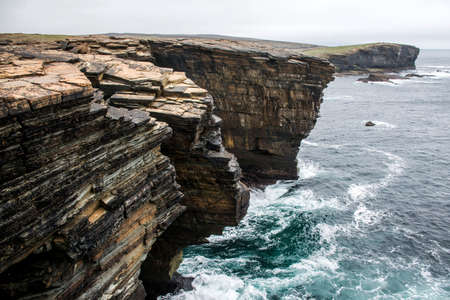 Panorama of Orkney coastline Yesnaby cliff landscape 2