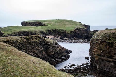 Panorama of Orkney coastline Yesnaby cliff landscape 4