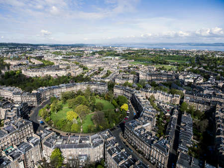 street shot: Edinburgh city the historic Town sunny Day Aerial shot 2 Stock Photo
