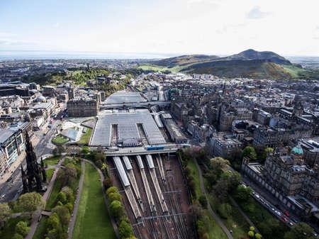 Edinburgh city historic Waverley Train Station Rail way on sunny Day Aerial shot 2 Stock Photo