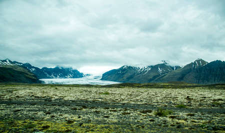 north cascade national park: Epic Landscape in Iceland with green grass and snow glacier 5 Stock Photo