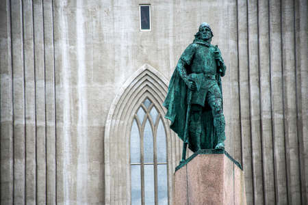leif: Statue of Leif Eriksson in front of famous church Hallgrimskirkja Reykjavik in Iceland